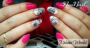 Produkty NeoNail użyte do stylizacji to: Lakier hybrydowy  Paradise Flower i Weding Princess oraz Base i Top Hard
