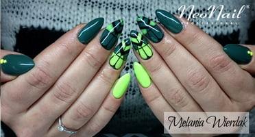 Produkty NeoNail użyte do stylizacji to: Lakier hybrydowy Yellow Energy, Dirty Green oraz Base i Top Hard