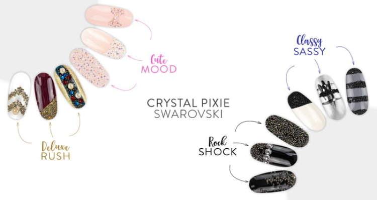 Kryształki Swarovskiego PIXIE - Classy Sassy efekt na paznokciach