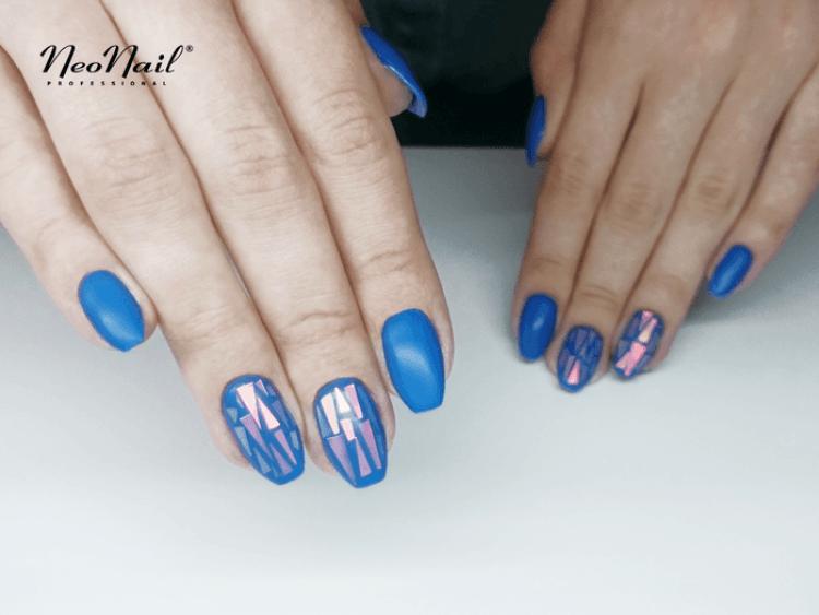 Folia do Efektu Szkła - Niebieska efekt na paznokciach