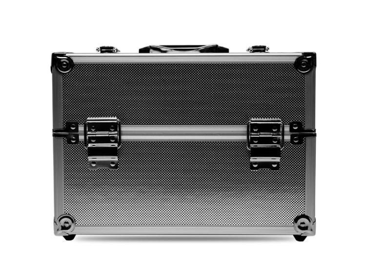 Kuferek kosmetyczny mały L srebrny wygląd