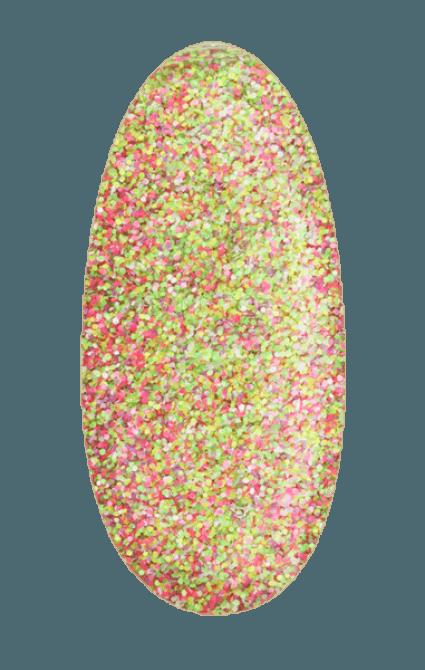 Drobny pyłek do stylizacji paznokci Sand effect w odcieniach różowo - zielonych wizualizacja na płytce paznokcia