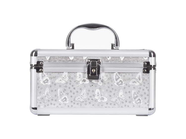 Kuferek srebrny MOTYLEK do przechowywania lakierów do paznocki