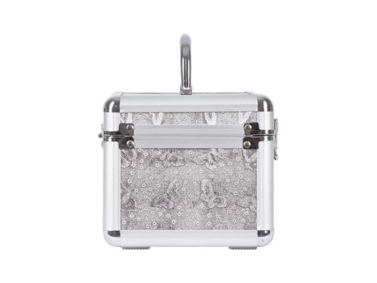 Kuferek srebrnydo przechwywania lakierów do paznokci wzór w motyle
