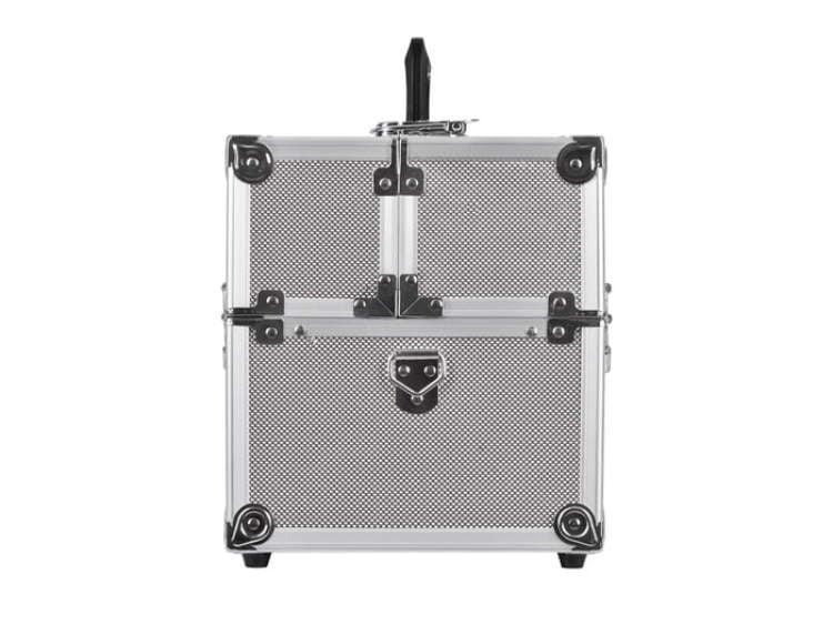 Mały kuferek kosmetyczny w srebrnym kolorze