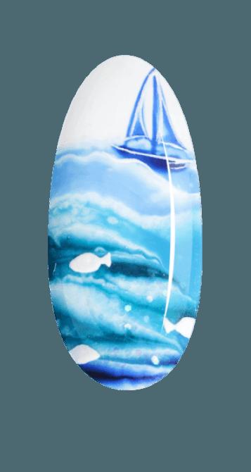 Lakier hybrydowy Aquarelle w niebieskim odcieniu prezentowany na paznokciu.