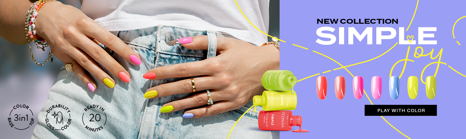 Simple Joy Discover 7 summer colors SIMPLE 3-in-1 UV gel polishes!  LETS GO!