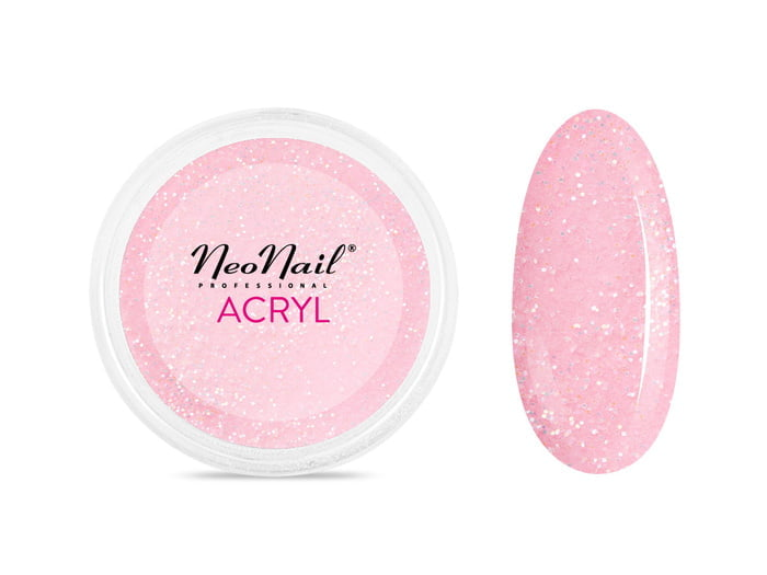 Proszek akrylowy 5 g - różowy z drobinkami do manicure