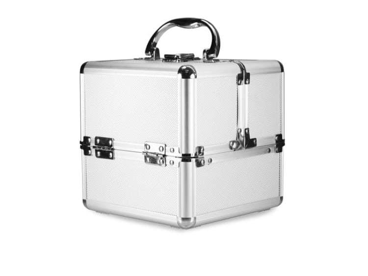 """Kuferek kosmetyczny """" kostka"""" - srebrny wysoka jakość"""