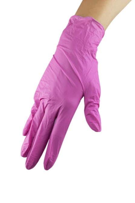 Rękawice nitrylowe ze środkiem nawilżającym - Pink Rose M wysoka jakość