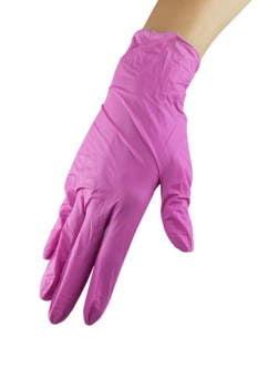 Rękawice nitrylowe ze środkiem nawilżającym - Pink Rose, S wysoka jakość