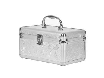 Kuferek srebrny kosmetyczny do przechowywania lakierów hybrydowych