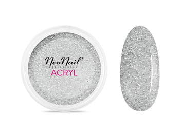 Proszek akrylowy 5 g - srebrny z brokatem do manicure
